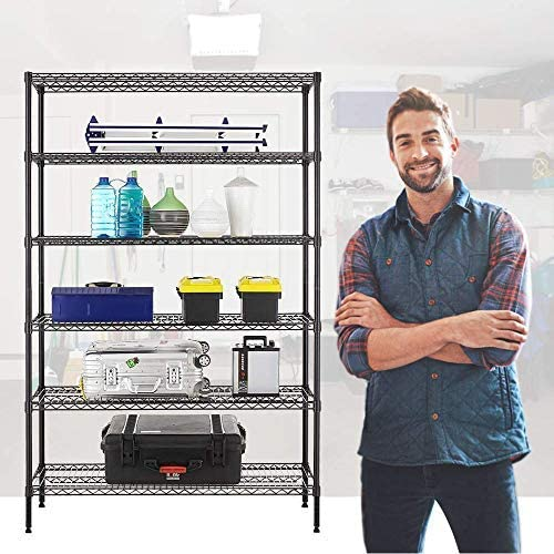 6 Tier Commercial Wire Shelving Rack 48x18x82 Metal Rack W//Casters Black