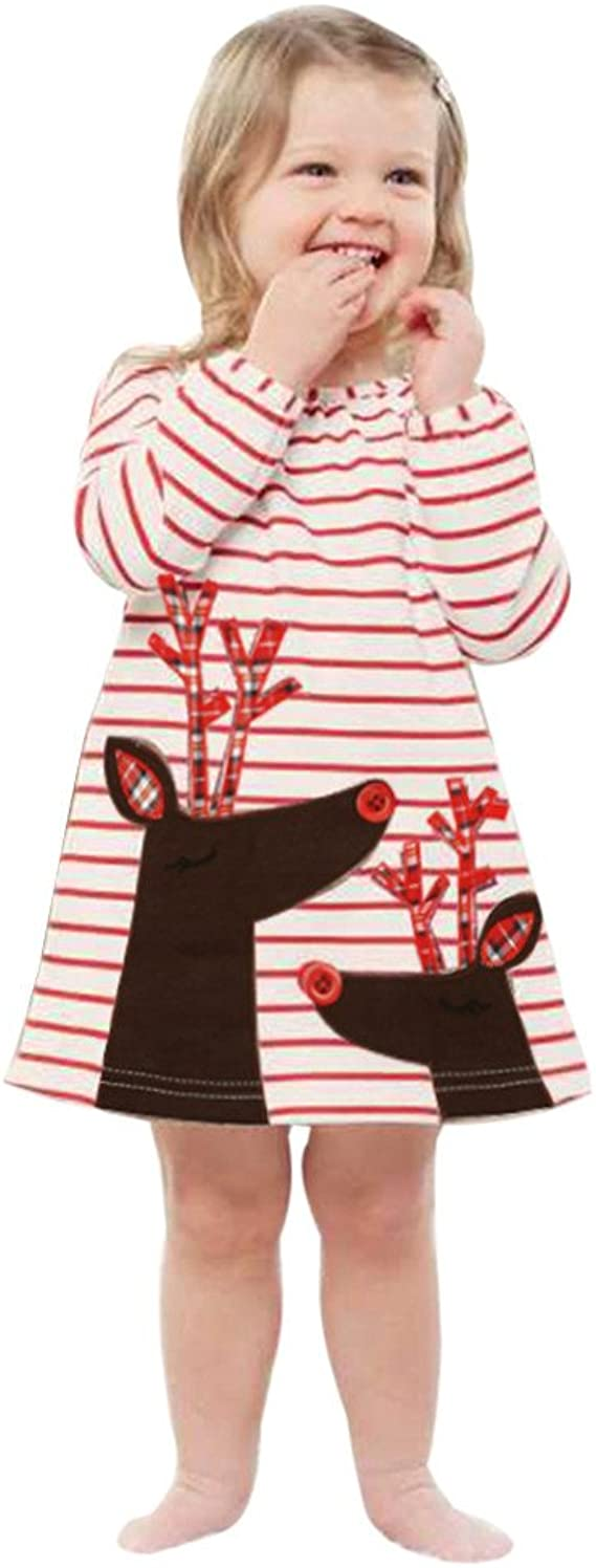 Toddler Christmas Dress,Hot Kids Baby Girls Deer Striped Print Princess Outfits Han Shi