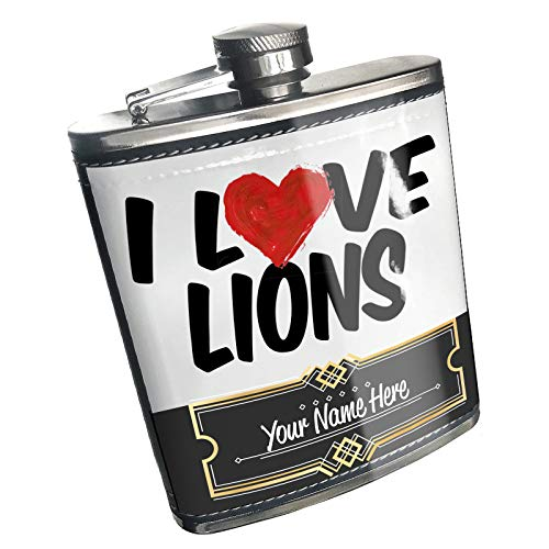 Neonblond Flask I Love Lions Custom Name Stainless Steel