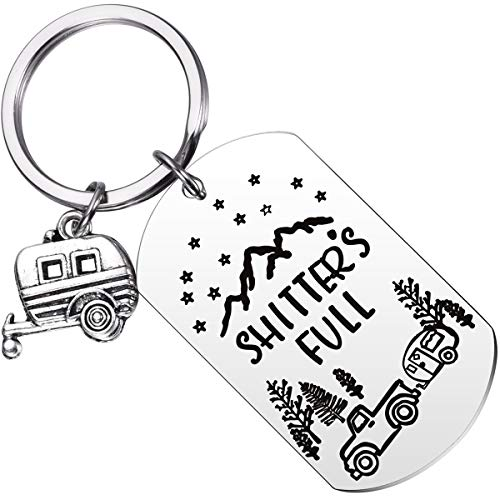 MIXJOY Shitters Full Keychain RV Key Chain Happy Camper Camping Trailer Key Ring Retirement Gift for Vacation Travel Outdoors Mountains National Lampoons