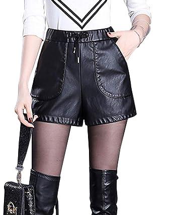 Yonglan Short Femme Taille Élastique Cordon De Serrage Mode Sauvage Loisirs  Pantalon en Cuir PU Noir a29901d919f