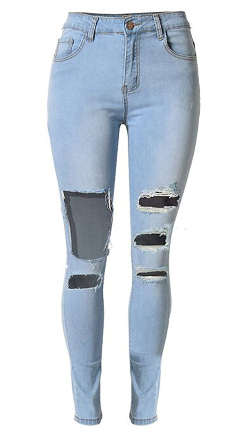 Insun Women's Stretch Cotton Ripped Distressed Skinny Jeans