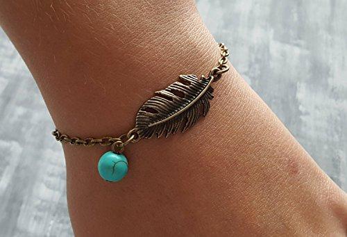 Bronze Feather Bracelet. Turquoise Charm Bracelet. Bronze Chain Bracelet. Tribal Bracelet. Boho Bracelet. Bohemian Jewelry. Hippie Bracelet. Turquoise Bronze
