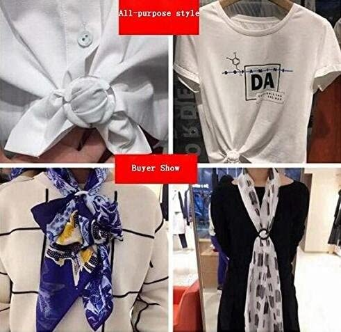 2 Inch 6PCS Plastic Round Smoothly Fashion Silk Scarf Clip Clasp Ring Scarf Buckle Slides for Neckerchief Color Random