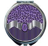 Rikki Knight Letter''D'' Purple Leopard Print Stripes Monogram Design Round Compact Mirror