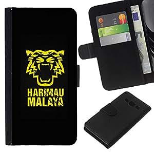 JackGot ( Harimau Tiger Malaya ) Samsung Galaxy A3 la tarjeta de Crédito Slots PU Funda de cuero Monedero caso cubierta de piel