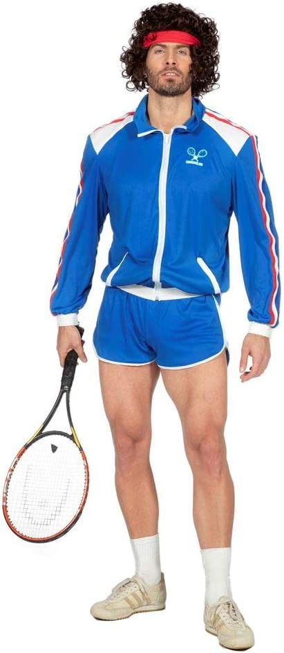 Gr/ö/ße:48 80er Jahre Tennisstar Retro Trainingsanzug Tennisspieler 80`s Wimbledon McEnroe Trash Herren-Kost/üm