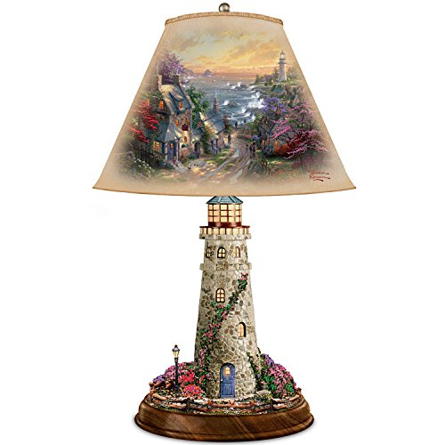 Thomas Kinkade Lamp With The Village Lighthouse Artwork On Shade And Lighthouse Base by The Bradford Exchange