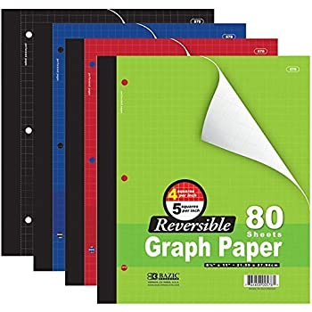 "Bazic 4/5 Reversible Graph Paper, 8"" 1/2 X 11"", 80 Sheets (Assorted Colors)"