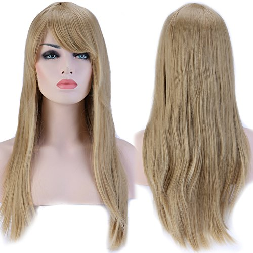 S-noilite Women Full Hair Wig Long Straight Natural Cosplay Daily Party Costume Dress Bangs Wigs (23