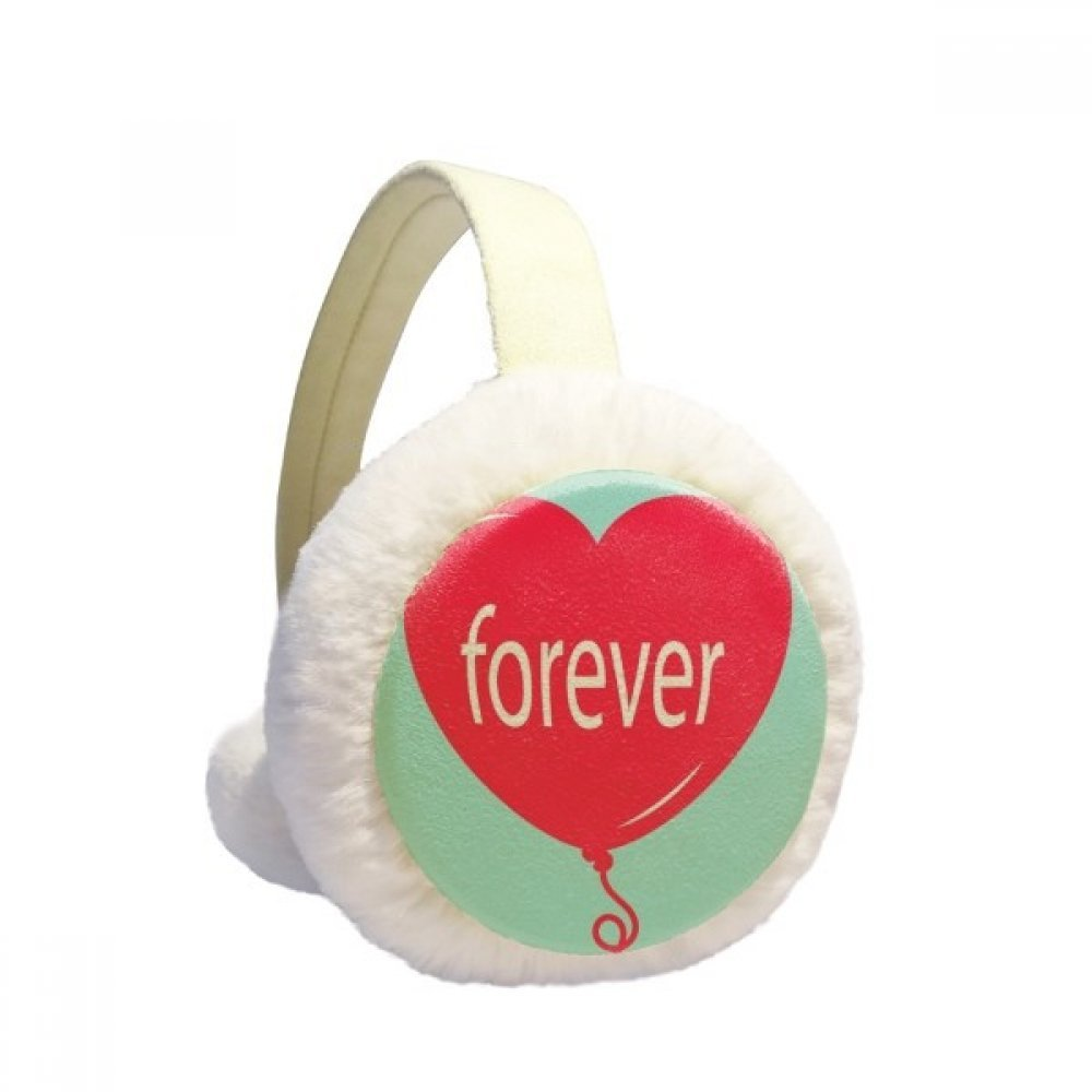 Forever Red Green Heart Valentines Day Winter Earmuffs Ear Warmers Faux Fur Foldable Plush Outdoor Gift
