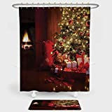 iPrint Christmas Shower Curtain Floor Mat Combination Set Xmas Scene Decorated Luminous Tree Gifts the Fireplace Artful Image decoration daily use Red Yellow