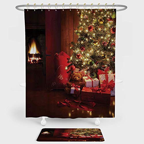 iPrint Christmas Shower Curtain Floor Mat Combination Set Xmas Scene Decorated Luminous Tree Gifts the Fireplace Artful Image decoration daily use Red Yellow by iPrint