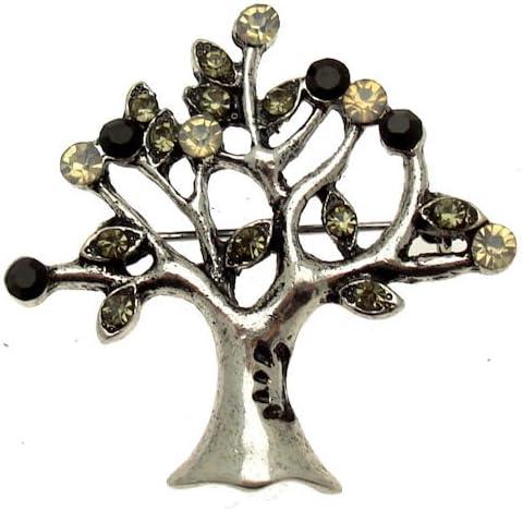 /Bo/îte Cadeau /Jet Acosta Broche/ /Style Vintage Arbre de Vie Broche/ Noir Diamant et Opale Cristal de Swarovski/