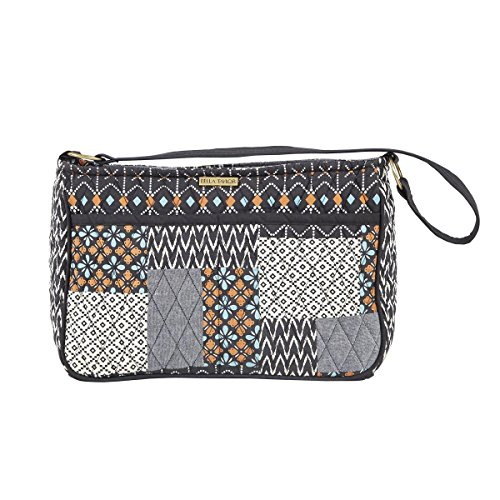Allie Quilted Cotton Hobo Slip Zip Pockets Nonadjustable Strapped Handbag (Tote Bag Purse) 8 x11.5 x 3 Inches