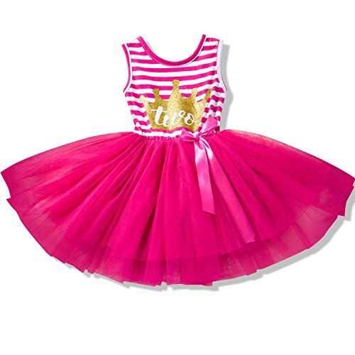 NNJXD Girl Shinny Stripe Baby Girl Sleeveless Printed Tutu Birthday Dress Size (90) 13-24 Months Gold&Rose