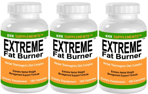 3 BOUTEILLES Extreme Fat Burner Pills Capsules 540 Total Weight Loss Diet KRK SUPPLÉMENTS