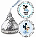 216 Baby Mickey Mouse Birthday Hershey Kisses Stickers Party Favors