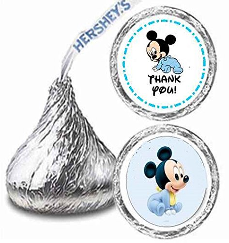 (216 Baby Mickey Mouse Birthday Hershey Kisses Stickers Party)