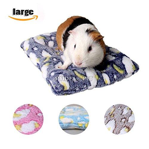 MYIDEA Hamster Bed, Round Velvet Warm Sleep Mat Pad for Hamster/Hedgehog/Squirrel/Mice/Rats/Mini Dutch Pig/Chinchilla Cushion (L, Rectangle - Navy (Mini Money Pads)
