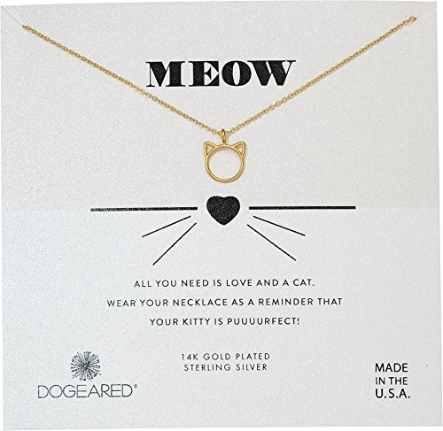 Dogeared Women's Meow, Cat Head Necklace Gold One Size ()