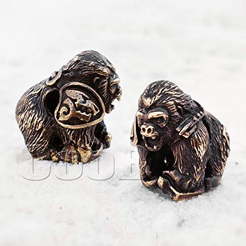 (CooB 1Pcs/Lot EDC Paracord Bead Beads Pendant Charm Hair Beard. DIY Beads for Paracord Bracelet, Keychain, Knife Camera Lanyard, Charm Zipper Pull Monkey Planet (Wild Gorilla Bronze))