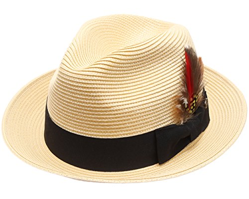 MIRMARU Mens Lightweight Trilby Fedora Short Curled Brim Hat with Removable Feather