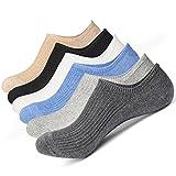 McoolMary Mens No Show Low Cut Socks Pure Color Organic Socks 6 Pack