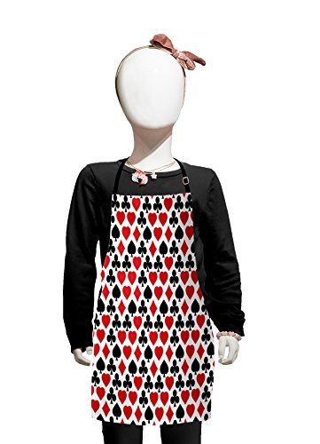 Lunarable Casino Kids Apron, Card Suits Pattern with Clubs Diamond Shapes Hearts Spades Poker Gamble Theme, Boys Girls Apron Bib with Adjustable Ties for Cooking Baking and Painting, Vermilion Black -