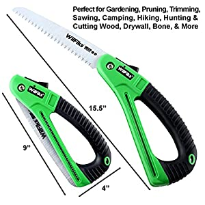 "WilFiks Razor Sharp 7"" Blade Folding Saw, Perfect for Gardening, Pruning, Trimming, Sawing, Camping, Hiking, Hunting & Cutting Wood, Drywall, & More, Foldable Hand Held Design, NonSlip D-Shaped Handle"