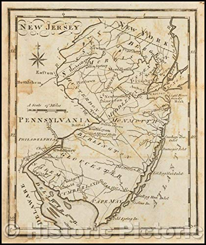 Historic Map | New Jersey, 1795, Joseph Scott | Vintage Wall Art 44in x 53in