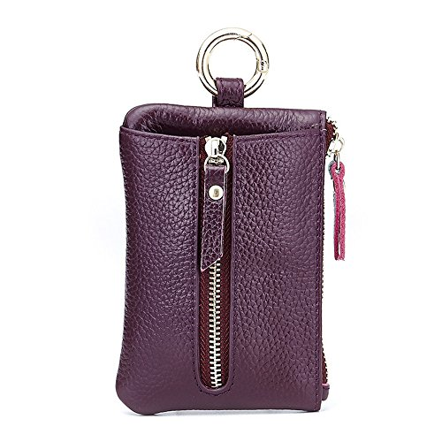 Aladin Womens Leather Key Case/ Zipper Coin Purse/ Card Holder Wallet Purple