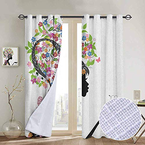 (NUOMANAN Customized Curtains Zodiac Scorpio,Fashion Girl Silhouette with Colorful Blossoming Floral Dress and Hairstyle, Multicolor,Blackout Draperies for Bedroom Living Room)