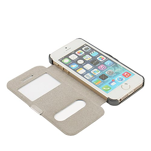 Funda iPhone 6s Plus, Funda iPhone 6 Plus, MTRONX Cover Carcasa Case Caso Doble Ventana Vista Ultra Folio Flip Twill Tela Asargada PU Cuero Delgado Piel con Cierre Magnetico para Apple iPhone 6s Plus  Gris