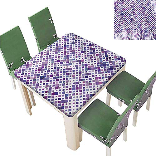 Decorative Tablecloth,Purple Retro Mosaic Creative Pattern Square Rhythm Abstract Art Print Design Tablecloth Great for Buffet Table,31.5W x 31.5L Inches(Elastic Edge)