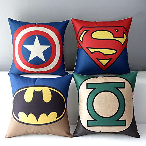 Chicozy Superheroes Style Home Decor Throw pillow cover Decorative pillow Cushion Collection pillowcase gift (Super Hero Decor)
