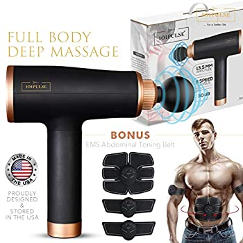 Image of Health and Household Massage Gun Deep Tissue Percussion Muscle Massager for Pain Relief, Handheld Electric Body Massager Sports Drill Portable Super Quiet Brushless Motor (Black)