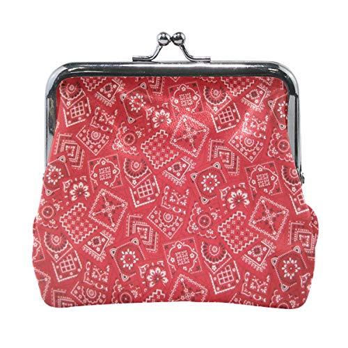 Women Wallet Purse Red Bandana Clutch Bag Leather