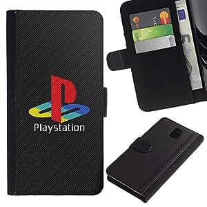 JackGot ( Playstation ) Samsung Galaxy Note 3 III la tarjeta de Crédito Slots PU Funda de cuero Monedero caso cubierta de piel