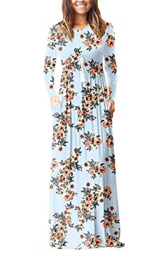 Women Fashion Floral Sun Long Dress(Green) - 4