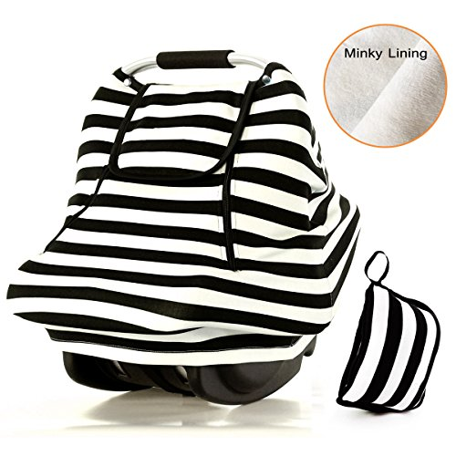 Stretchy Baby Car Seat Covers For Boys Girls,Winter Infant Car Canopy,Snug Warm Breathable Windproof, Adjustable Peep Window,Insect free,Universal Fit,Black White Stripe-Patented Design (Carrier Car Seat Cover compare prices)