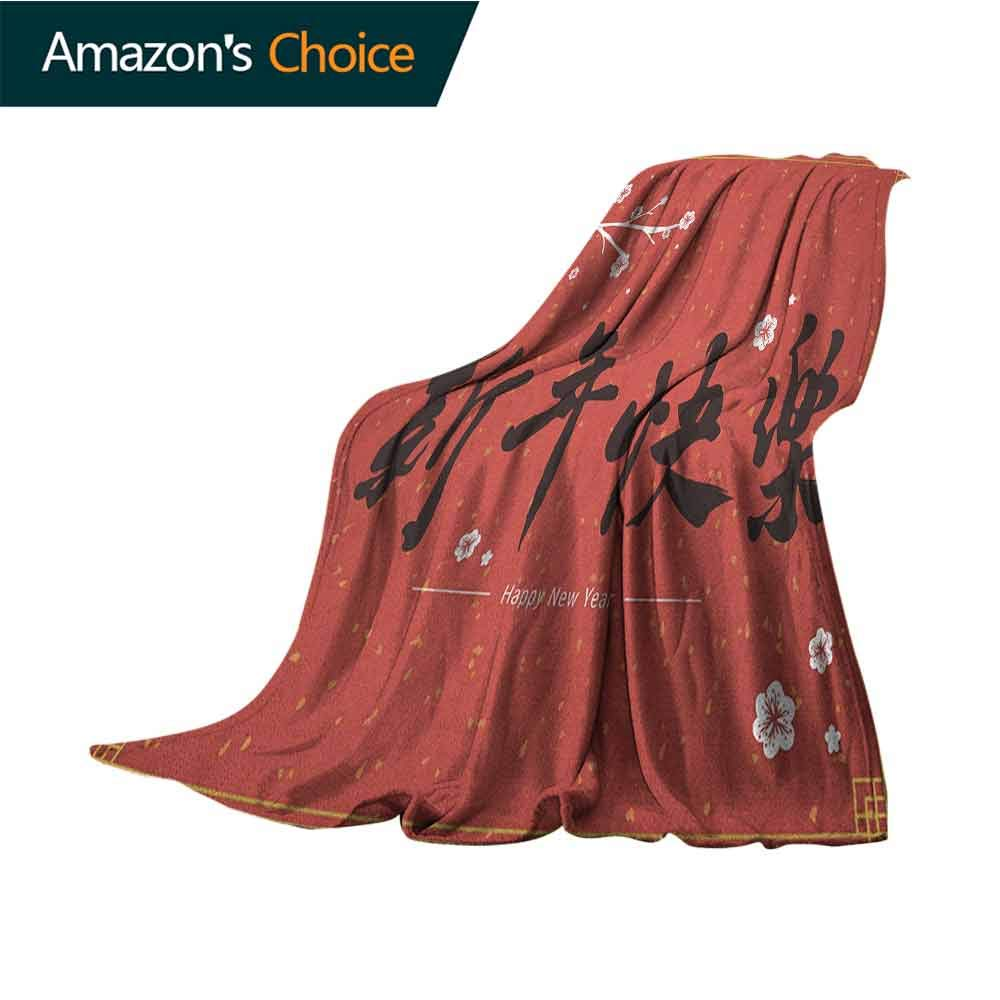 Chinese New Year Sofa Blanket,Hand Drawn Style Calligraphy with a Flowering Cherry Branch Lightweight Extra Soft Skin Fabric,Not Allergic,30'' Wx50 L Dark Coral Black and Gold