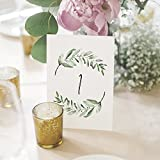 1-25 Greenery Wedding Table Numbers, Centerpiece Decorations, Double Sided 4x6 Calligraphy Design, Numbers 1-25 & Head Table Card Included — from Bliss Paper Boutique.