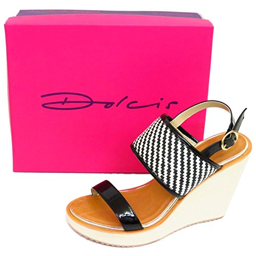 3 Platform Sandals Sizes Ladies Toe Ankle Wedges White Peep Dolcis Shoes Black 8 xxqTP1