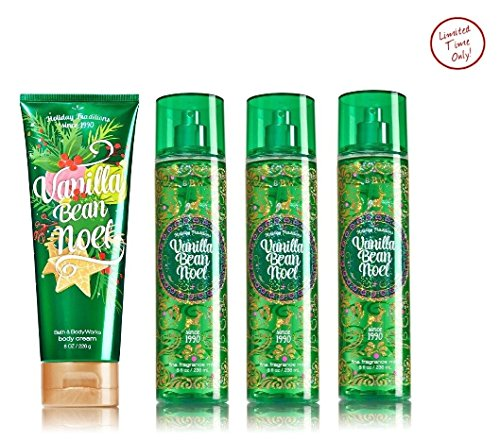 Vanilla Bean Noel Bath & Body Works Holiday Traditions LOT of 3 Fragrance Mist and 1 Ultra shea Body Cream Gift Set Full Size