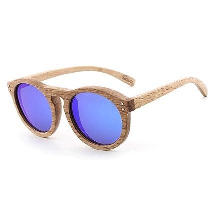Gafas sol polarizadas de Madera Redondas Retro Gafas de Madera recubiertas de Madera y Mujeres Gafas