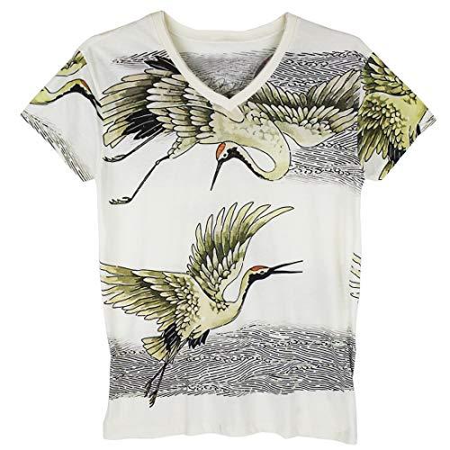 (WORK Crane Bird Japanese Temporary Art Irezumi Tattoo Men White T-Shirt / WK169 Size M)