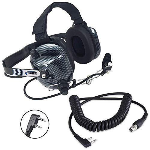Rugged Radios H41-CF Carbon Fiber Style Behind The Head Two Way Radio Headset with CC-Ken Coil Cord Cable for 2-Pin -