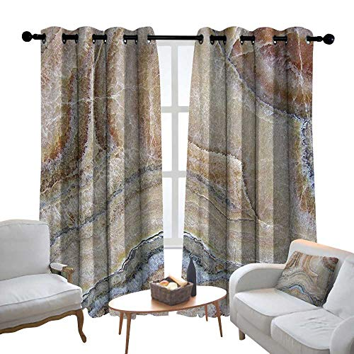 Lewis Coleridge Bedroom Curtain Marble,Surreal Onyx Stone Surface Pattern with Nature Details Artistic Picture, Cinnamon Grey Tan Beige,Insulating Room Darkening Blackout Drapes 54