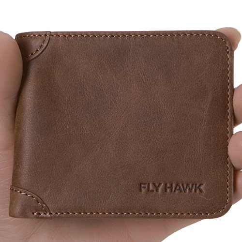 FlyHawk Men Western Leather Wallet Purse, Aluminum Bifold Wallet for Men Coffee Mini Wallets